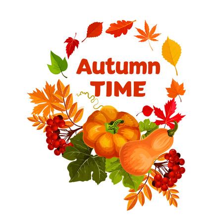 秋の収穫のカボチャと葉ポスターのデザイン