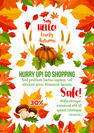 Autumn sale poster with fall season leaf frame Ilustração