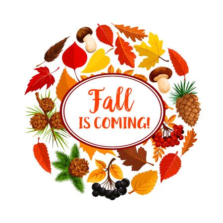 Hello autumn poster of fallen leaves and mushroom Illustration