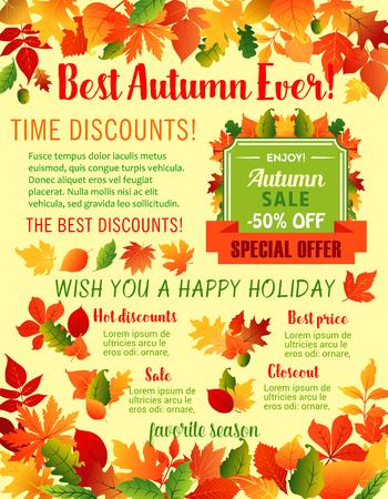 Autumn fall maple leaf acorn vector sale poster Ilustracja