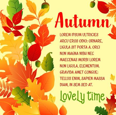 秋の葉秋ベクトル挨拶ポスター