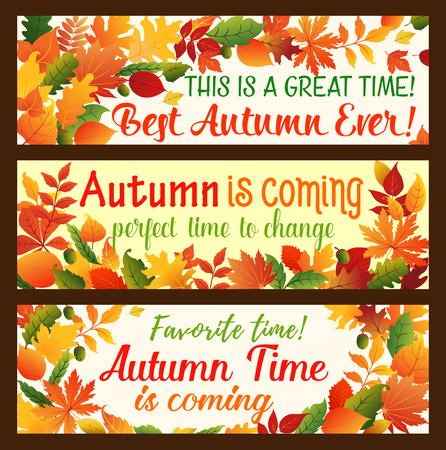 Autumn leaf banner, fall nature season border set