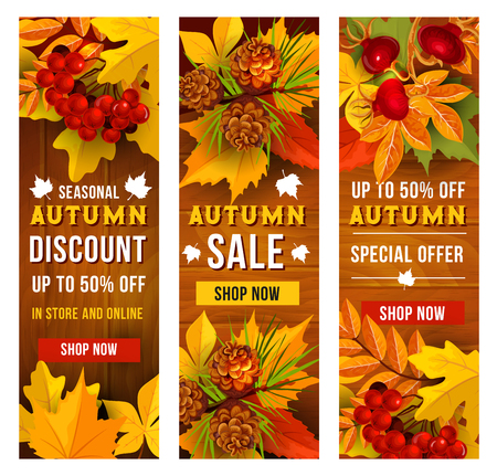 Autumn sale and discount price banner template set Ilustração