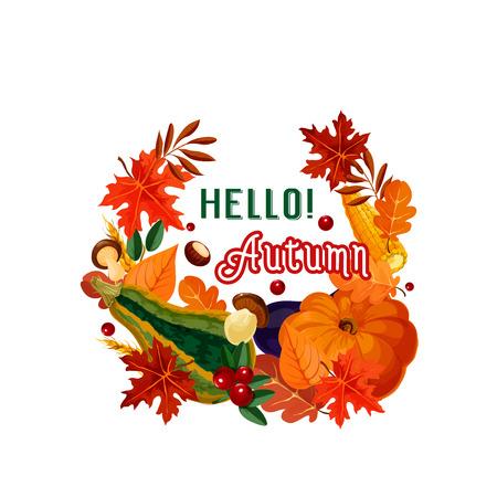 Hello autumn poster of fall leaf and vegetable