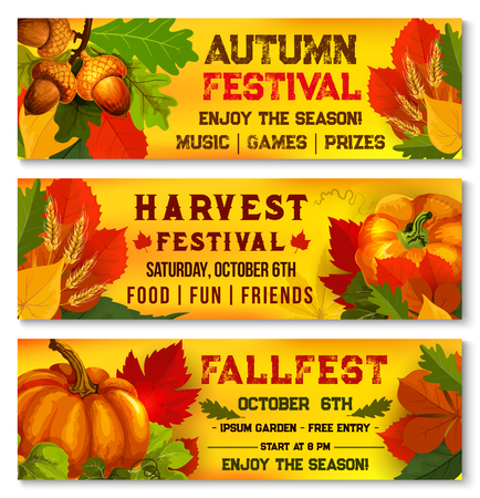 Autumn festival or harvest picnic vector banners