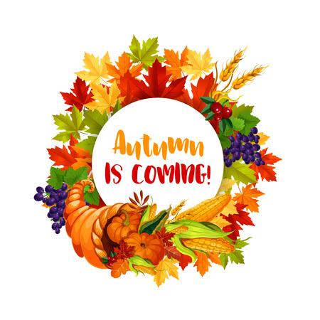 秋の収穫祭の感謝祭の日ポスター