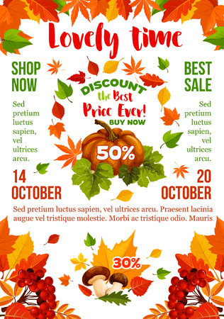 Sale banner with autumn leaf, fall season pumpkin Ilustração