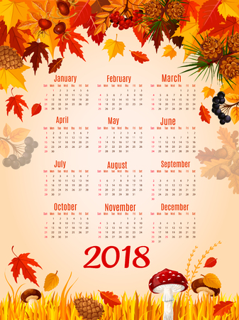 秋の葉秋ベクトル 2018年カレンダー テンプレート