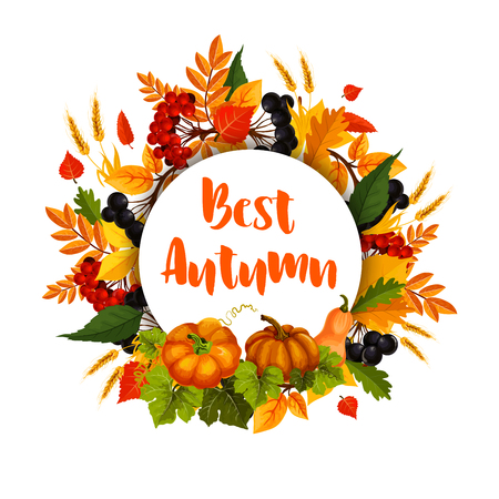 Autumn poster of leaf fall and pumpkin harvest