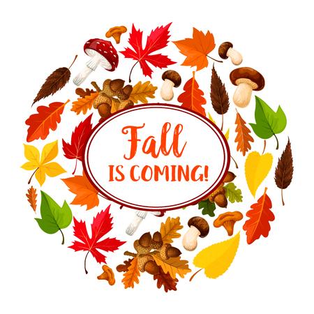 Herfst of blad vallen vector seizoensgebonden poster