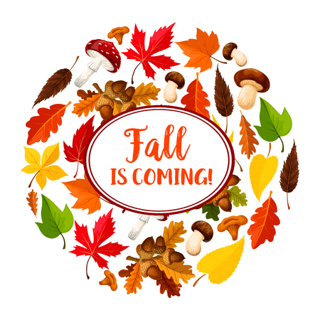 Autumn or leaf fall vector seasonal poster