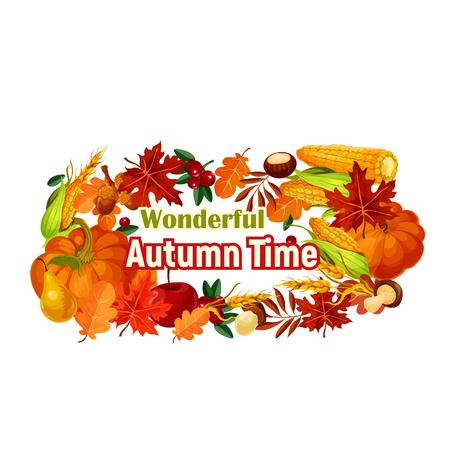 Autumn harvest poster of vector pumpkin, corn leaf
