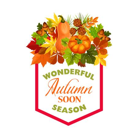Autumn maple leaf pumpkin harvest vector poster Ilustrace