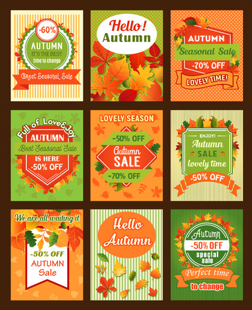 Autumn season sale retro banner and tag set design Illustration