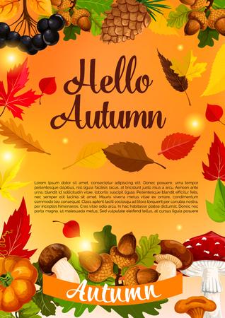 Hello autumn poster template of fall season leaf Illustration