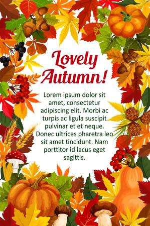 Herbstblatt-Plakatschablone mit Fallnaturrahmen Standard-Bild - 83719675