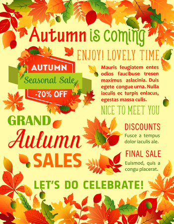 Autumn fall maple leaf vector sale poster template Çizim