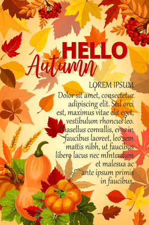 Hello Autumn banner with orange leaf and pumpkin