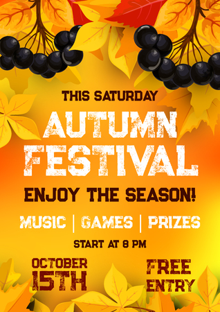 Fall festival of autumn harvest poster template Illusztráció