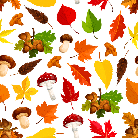 Autumn leaf, mushroom seamless pattern background