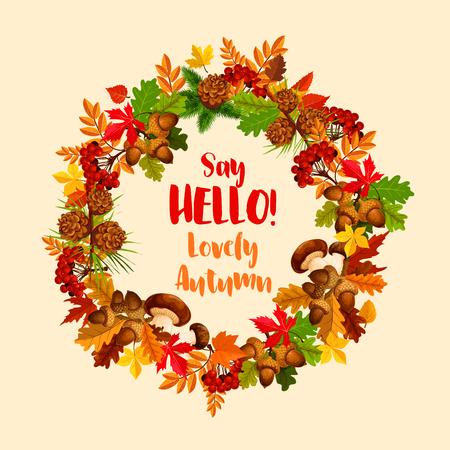 Herfst vector poster van maple leaf krans Stock Illustratie