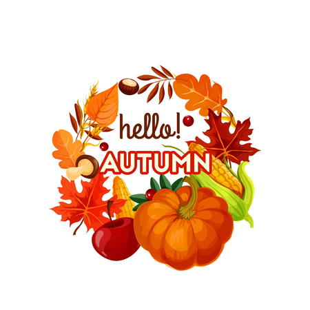 Autumn harvest vegetable, fruit and leaf poster Illustration