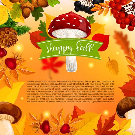 秋のハッピー秋キノコと葉のベクトルのポスター