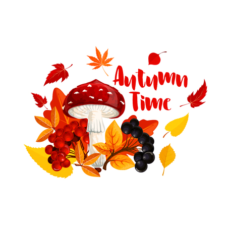 Autumn or fall nature season poster design Illustration