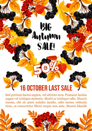 Autumn sale banner template with fall season leaf