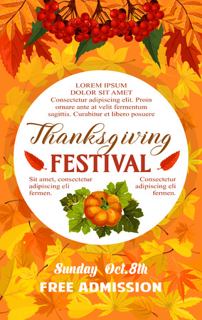 Thanksgiving Day festival banner of autumn harvest