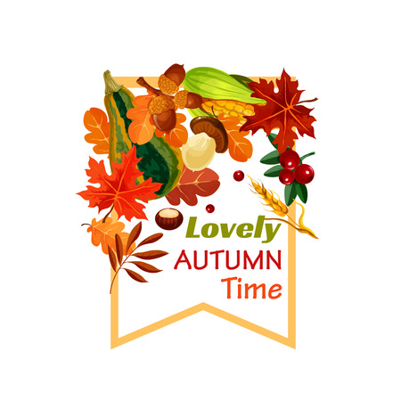 Autumn lovely fall time vector poster Çizim