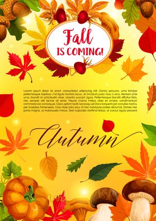 Autumn leaf and harvest vegetable banner template Illustration