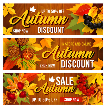Autumn sale discount vector banners set Ilustracja