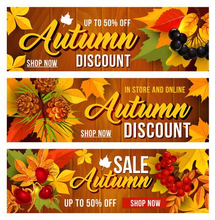 Autumn sale discount vector banners set Illustration