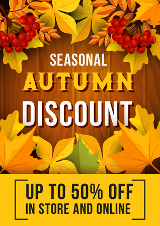 Autumn sale banner with fallen leaves design