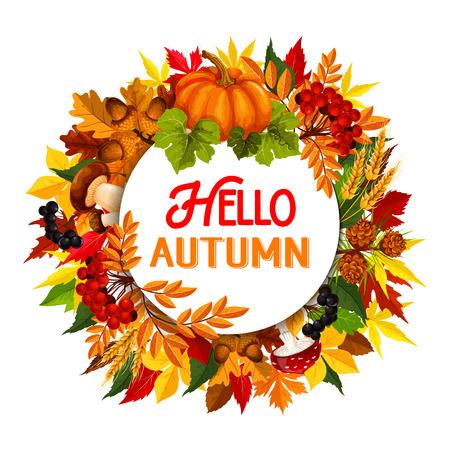 cep: Autumn maple leaf pumpkin harvest vector poster Illustration