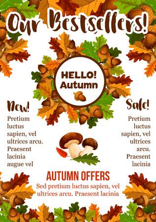 Autumn sale shopping fall vector seasonal poster Ilustracja