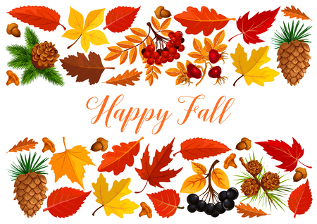 Happy fall banner with autumn leaf border