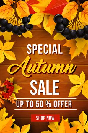 Herfst verkoop korting vector poster
