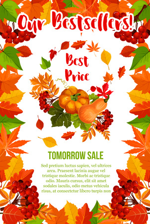 Autumn sale vector pumpkin maple leaf poster
