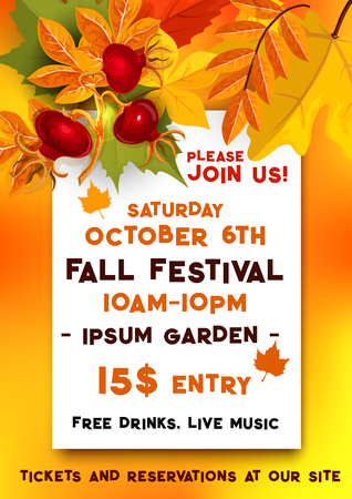 Fall festival of autumn harvest banner template Imagens - 83719806