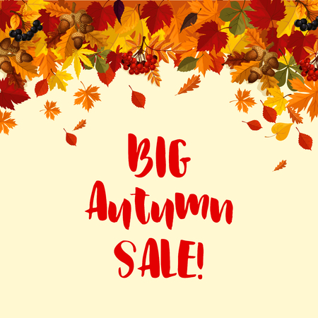 Autumn fall leaves vector sale poster template