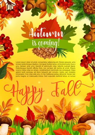 Autumn and fall season banner template with leaf Illustration