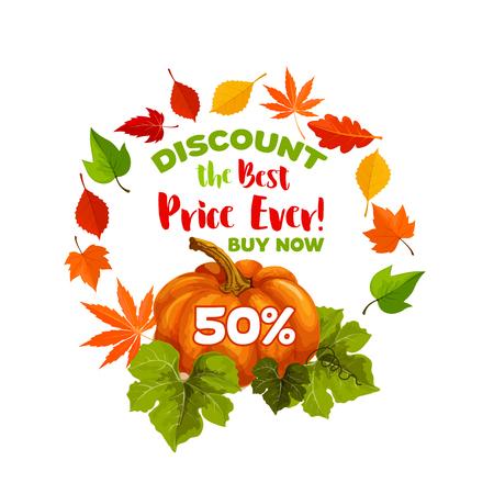 Herfst verkoop korting vector pompoen poster