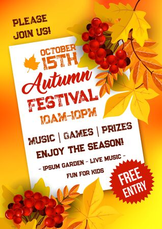 Autumn festival poster template with yellow leaves