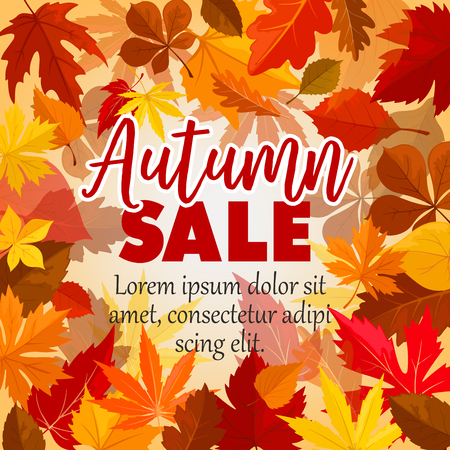 Autumn sale vector poster of leaf