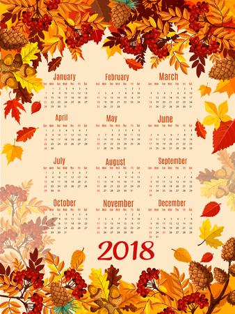 Calendar 2018 template with autumn season leaf