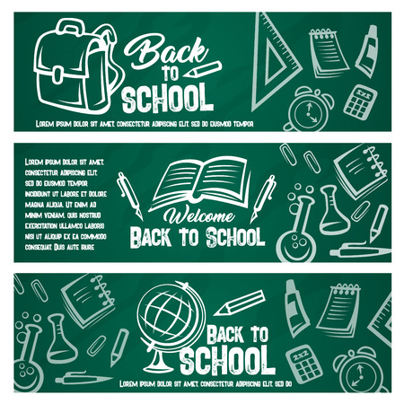 Back to school chalkboard banner with student item.