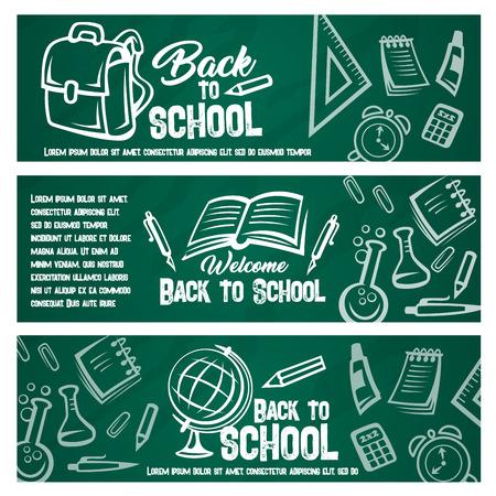 Terug naar school schoolbord banner met studentenitem. Stockfoto - 83853299