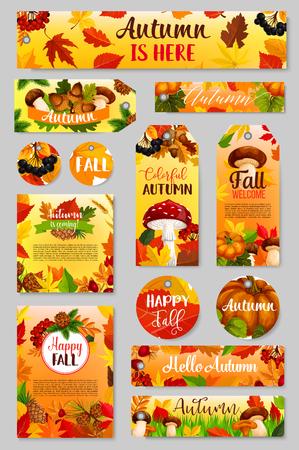 Autumn tag of fall harvest pumpkin, mushroom, leaf